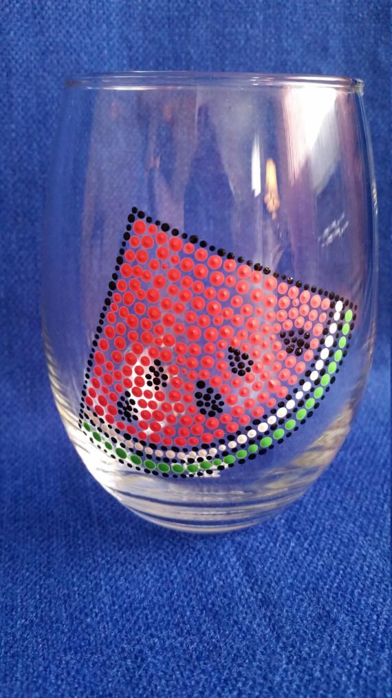 Watermelon Wine Glass; Summer Wine Glass; Beach Glass