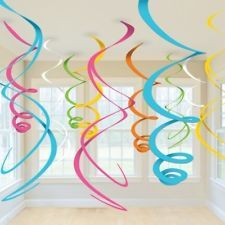 HANGING SWIRLS PARTY DECORATION (12pk) - Blue, Pink, White, Multi Coloured