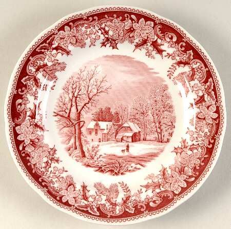 """Winter's Eve"" by Spode in red and white. I want to start collecting this pattern"