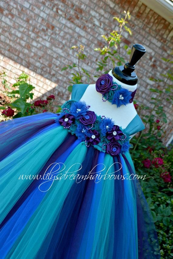 Wedding - teal tutu dress. peacock color tutu dress, teal, purple and blue