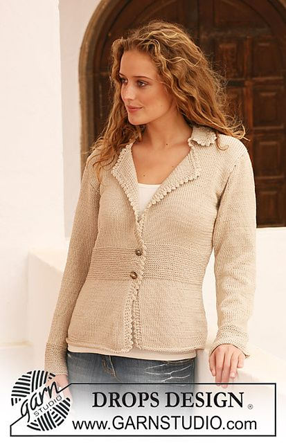 "Ravelry: 111-26 Jacket with collar in ""Muskat"" pattern by DROPS design - free pattern"