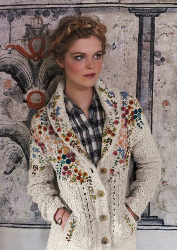 Anthropologie knitted embroided sweater