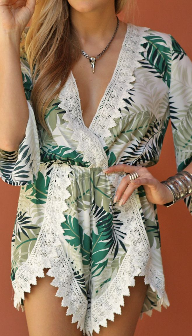 Tropical print romper