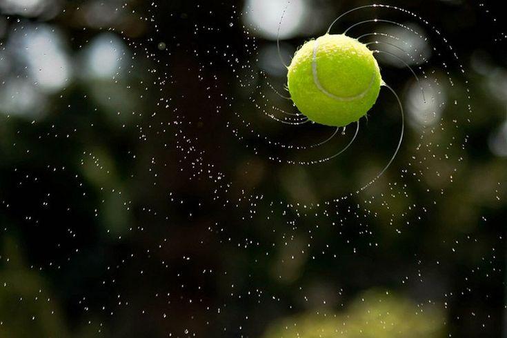 High Speed Photo Shows Water Forming Logarithmic Spirals As It Flies Off a Tennis Ball - Fibonacci's spiral