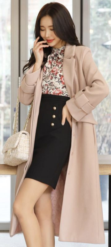StyleOnme_Wool Blend Belted Extra Long Tailored Coat #pink #long #tailored #wool #coat #koreanfashion #kstyle #kfashion #wintertrend #dailylook