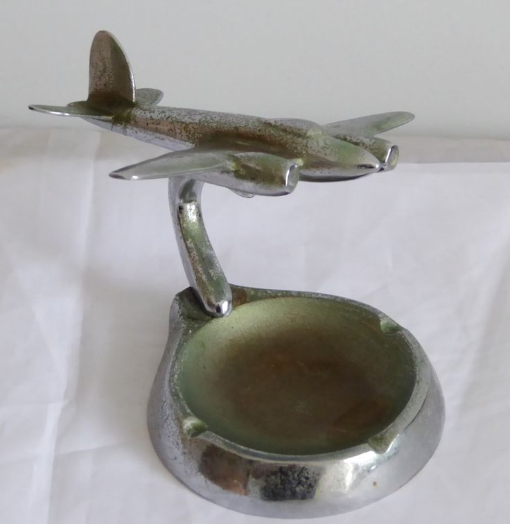 Art Deco WW2 Australian Trench Art RAAF Airplane Ashtray - The Collectors Bag