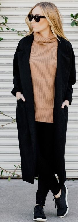 Camel Turtleneck Sweater with All in Black Clothing | Black And Camel Casual Winter Street Style | eat.sleep.wear.