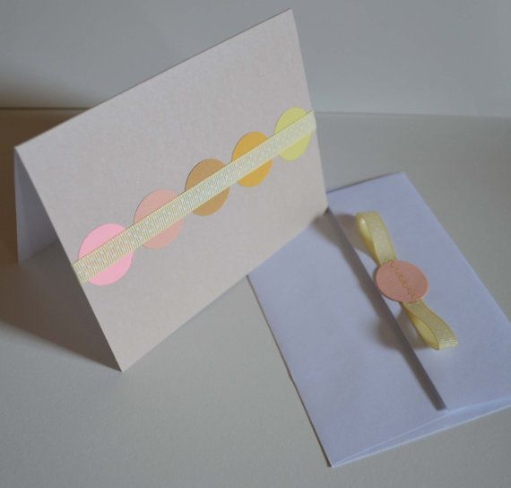 Blank taupe card with pastel details and a yellow polk-a-dot ribbon. Matching envelope too! By MilestonesandPebbles, $5.09 https://www.etsy.com/shop/MilestonesandPebbles?ref=related-shop-35