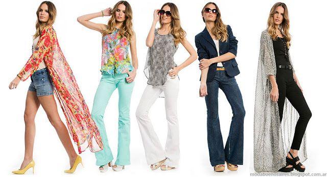 Moda primavera verano 2016 pantalones oxford y kimonos largos. Moda 2016 ropa de mujer City Argentina.