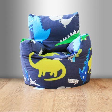 Children's Beanbag Chair Dinosaurs Blue Boys Kids Bedroom Furniture Bean Bag New