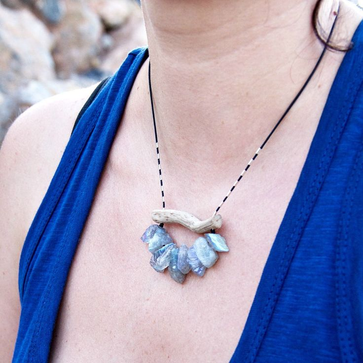 Raw Labradorite Necklace Organic Jewelry Rough Gemstone