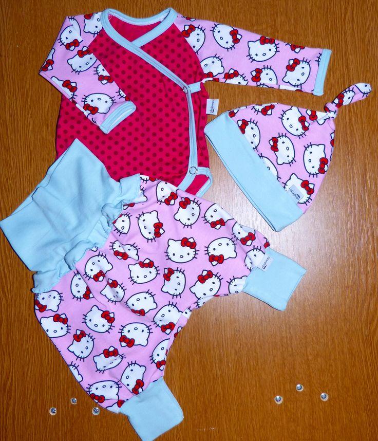 newborn set, baby knot hat, side snap bodysuit and harem pant