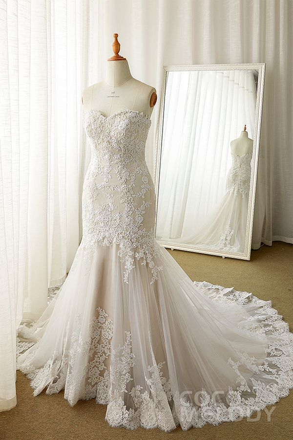 58ebd3d2aaaa Trumpet-Mermaid Court Train Tulle Lace Wedding Dress LD5580 in 2019 | Say