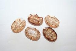 Perline in Acrilico Craked Marrone Ovale 25x18mm- 8pz