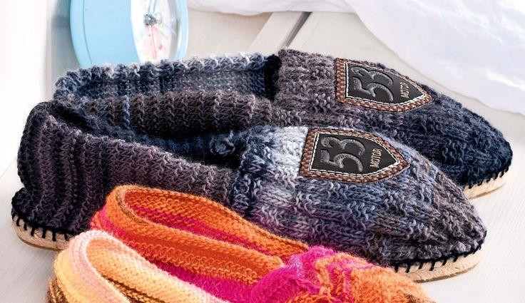 Домашние мужские тапочки - схема вязания спицами. Вяжем ...