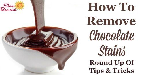 Here is a round up of tips for how to remove chocolate stain from a variety of surfaces, including clothes, carpet and more. There are also lots of reviews of what products work best for removing these stains {on Stain Removal 101}