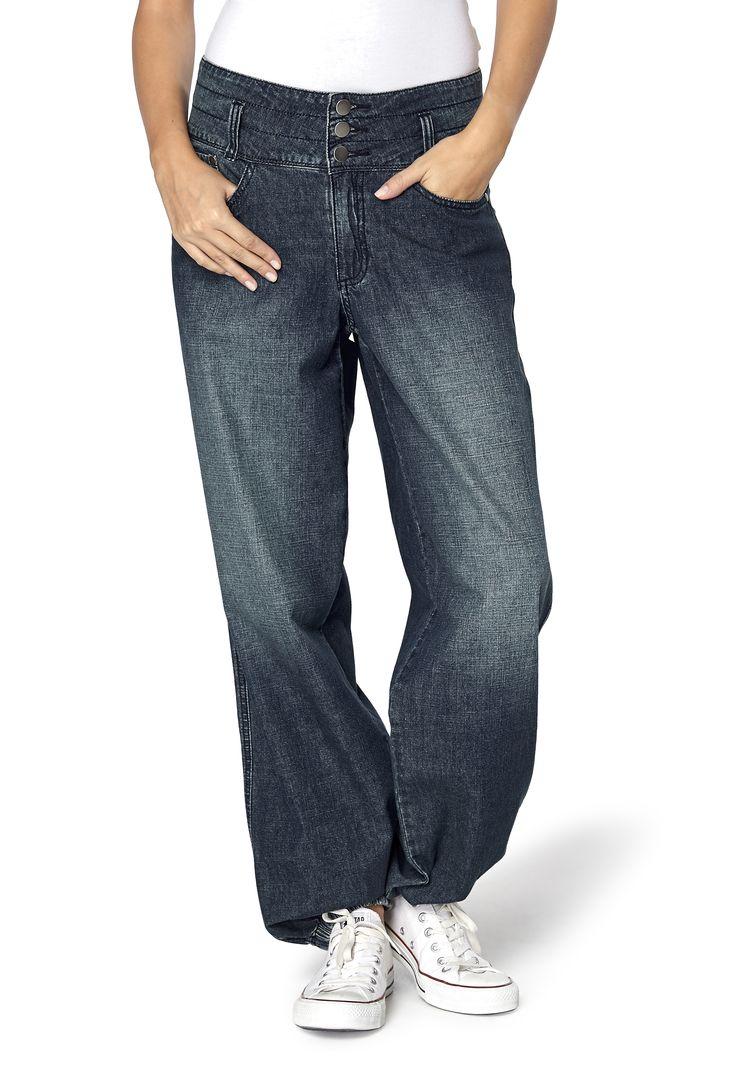 Jeans med lös passform och sliten look. Bred linning med tre knappar, hällor och stickni... • Trygg leverans • Säker betalning • 14 dagars ångerrätt