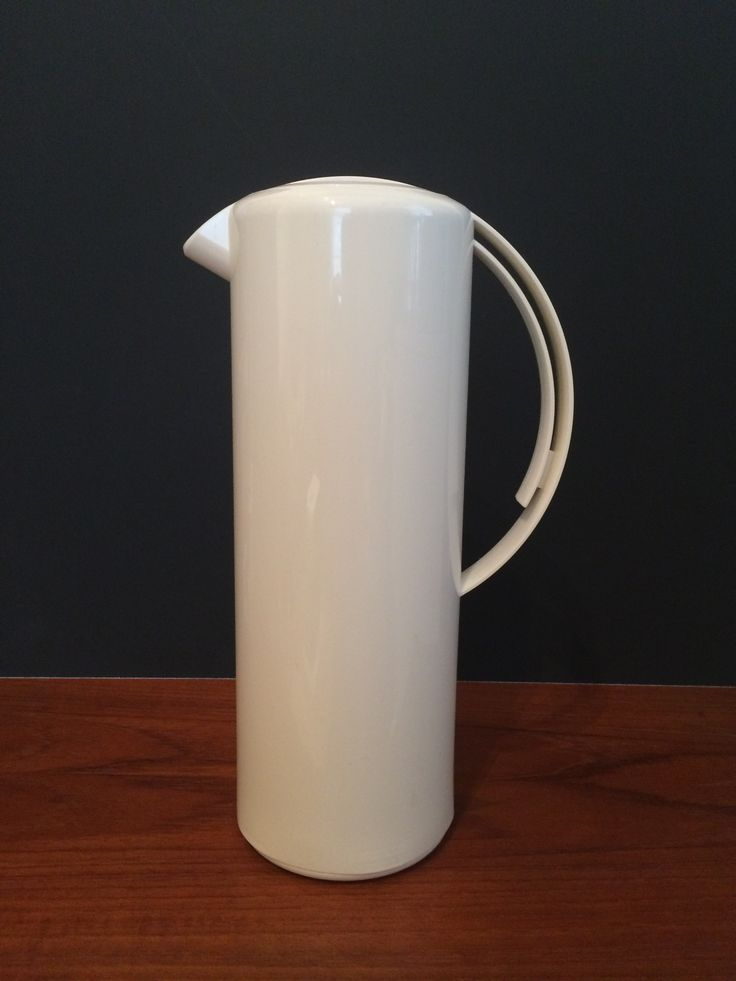 "Thermos brand modern design insulated beverage pitcher white approx 12.5"" tall x 4.5"" diameter"