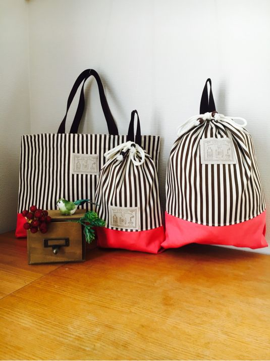 シンプル&キュートな入学準備 3点セット*レッスンバッグ・お着替えバッグ・シューズバッグ