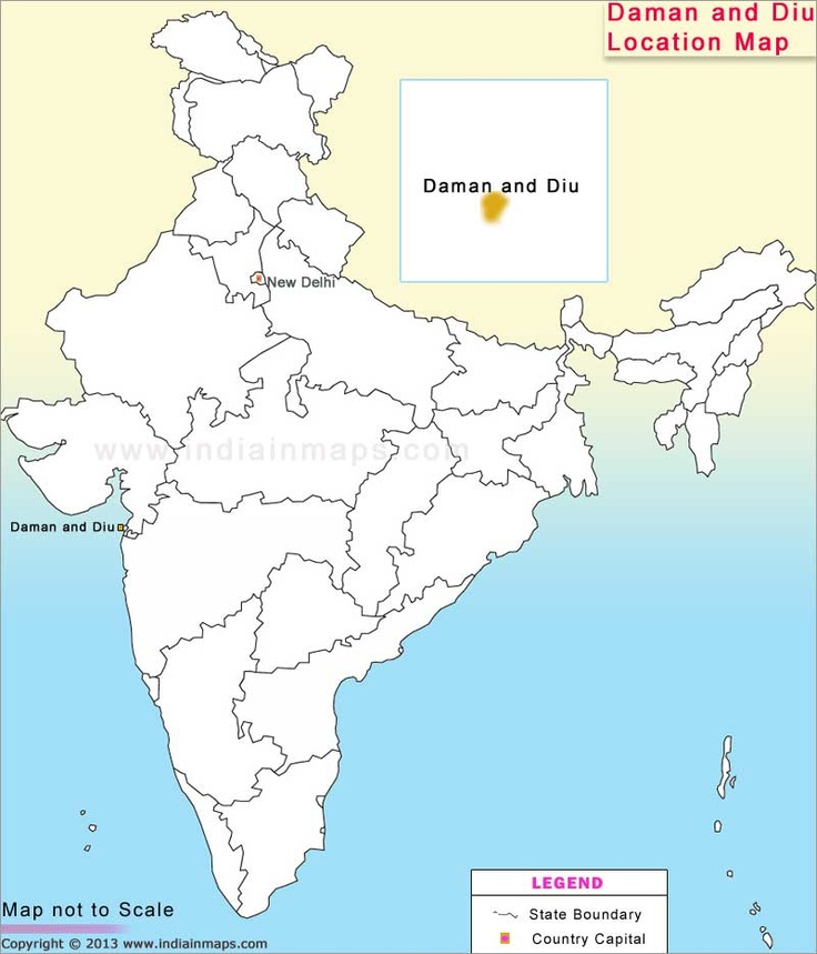 Where is Daman and Diu. The Daman and Diu, located at Latitude : 20 25' N, Longitude : 72 53' E. Get the Daman and Diu location map. The Location Map of Daman and Diu showing the location of Daman and Diu in India.
