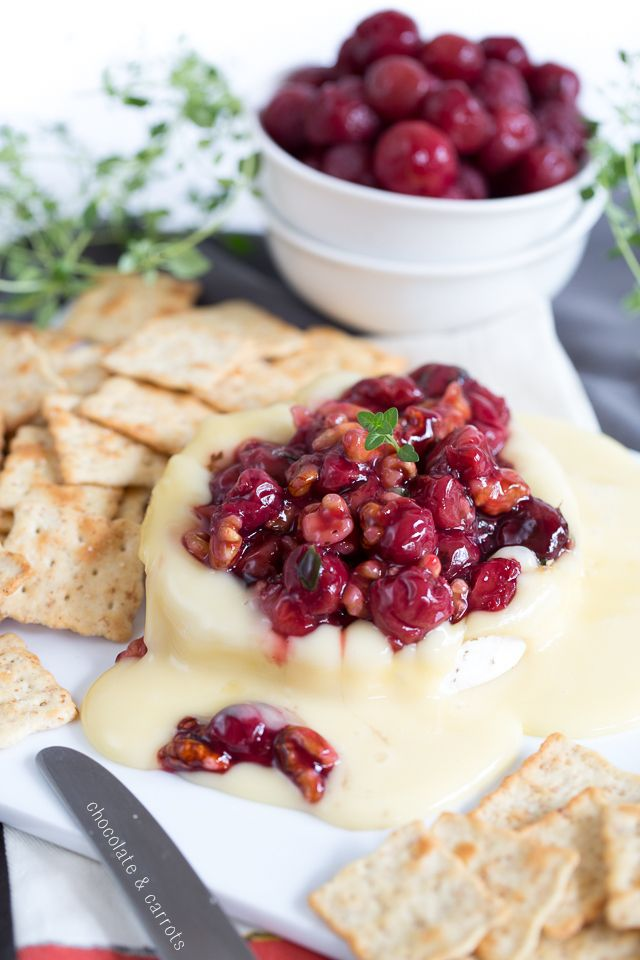 Savory Cherry Compote on Warm Brie Cheese | chocolateandcarrots.com