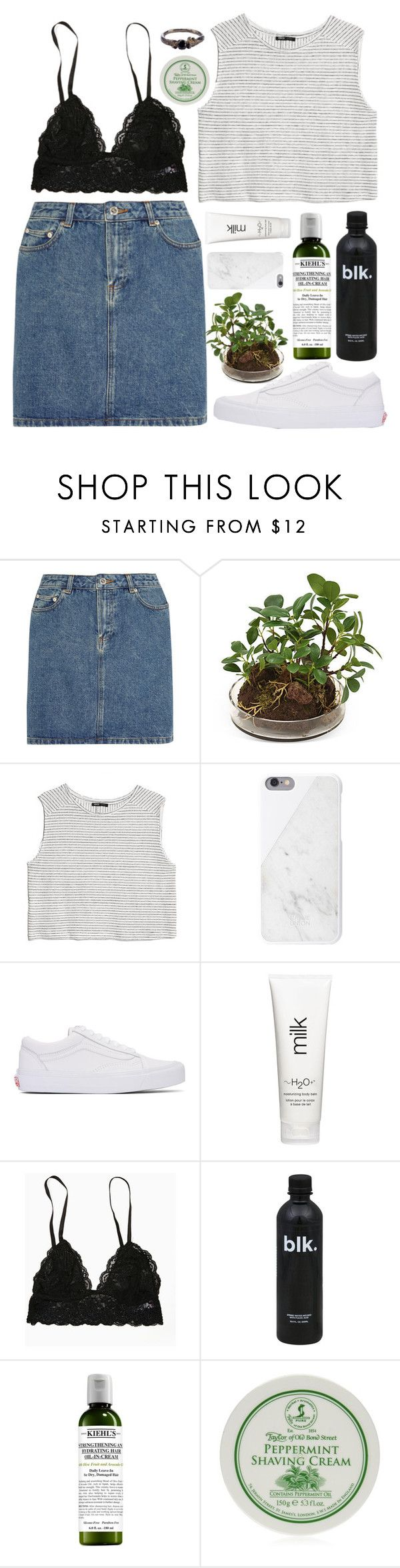 """""""IT MIGHT BE OVER SOON"""" by little-wild ❤ liked on Polyvore featuring A.P.C., Distinctive Designs, MANGO, Native Union, Vans, H2O+, Kiehl's, Taylor of Old Bond Street and Disce Mori"""