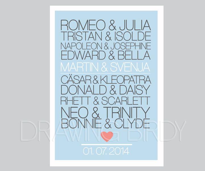 Romeo Julia Personalisierter Originaldruck Etsy Geschenk Hochzeit Hochzeitsgeschenk Geschenke