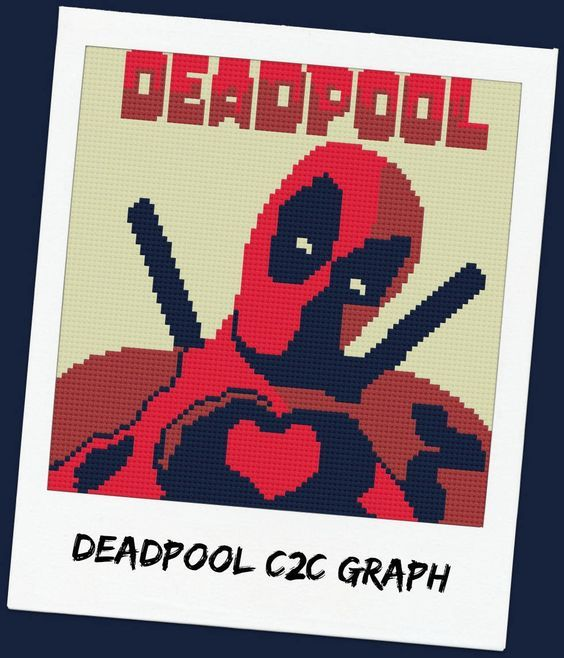 Deadpool Afghan, C2C Graph, with Row by Row Word Chart