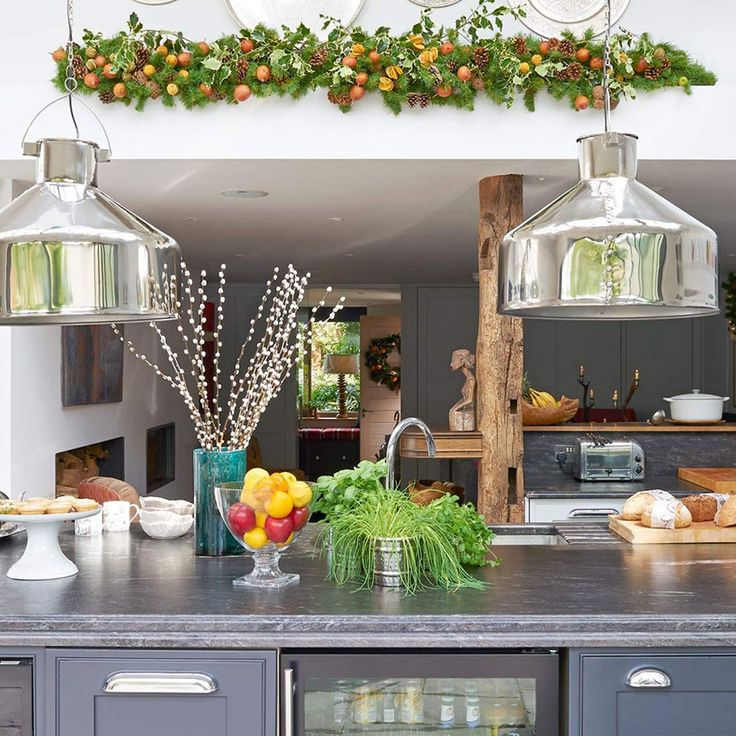 Modern kitchen extension with Christmas garland decoration