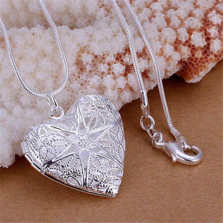 new free shipping  silver plated  for women necklace jewelry silver jewelry fashion cute Heart pendant snake necklace P185