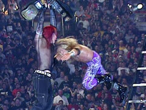 Edge- Spears Jeff Hardy off a 20 ft ladder... Classic moment in Sports Entertainment!!