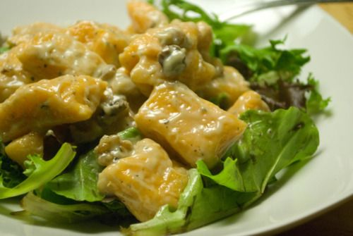 sweet potato gnochi with a blue cheese & walnut sauce---- must try soon!