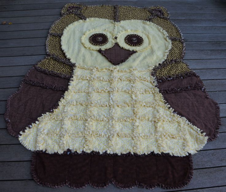 OWL RAG QUILT Childs Rag Quilt Chocolate by TheNeedleNPinsPrject, $99.00
