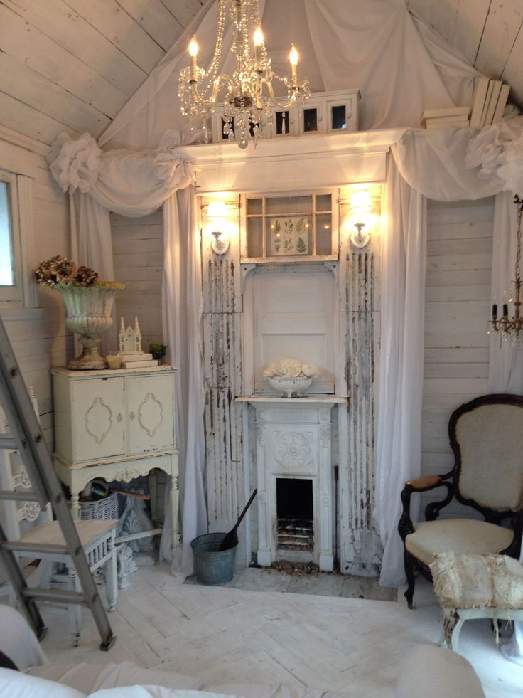 best 25 shabby chic fireplace ideas on pinterest shabby. Black Bedroom Furniture Sets. Home Design Ideas