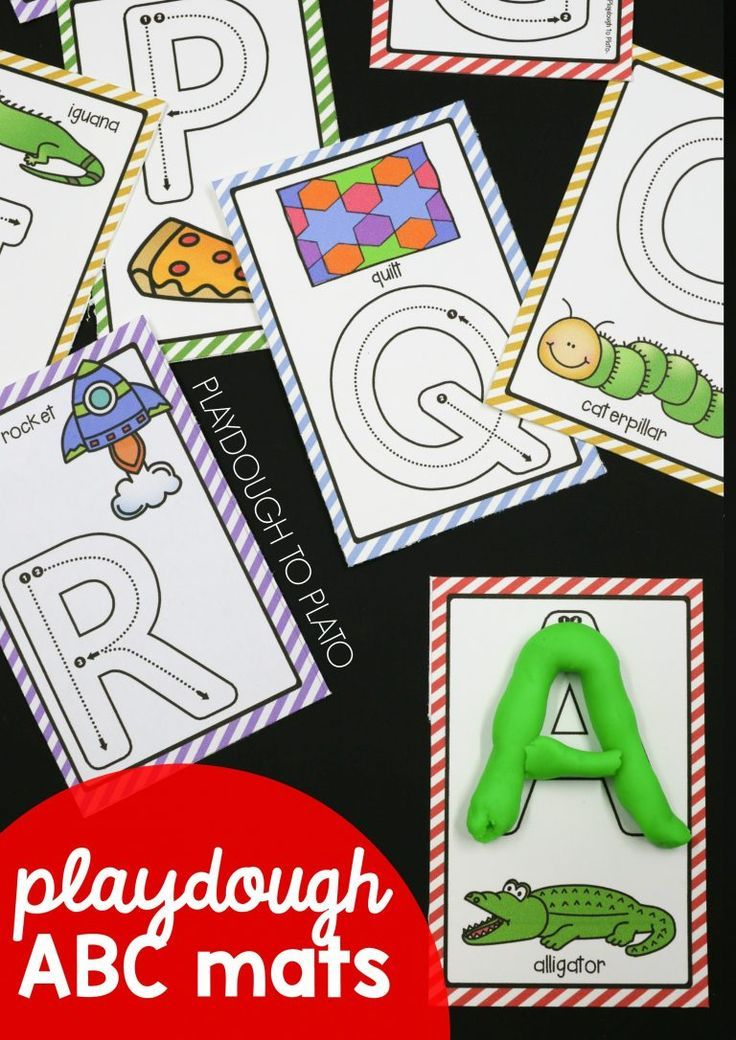 ABC playdough mats! What a fun way to work on letter names, letter sounds and letter formation in preschool or kindergarten. Fun ABC activity. (affiliate)