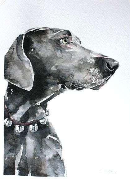 custom pet portrait, original watercolor painting, dog or cat painting, handmade gift/present by wetnosewatercolours on Etsy
