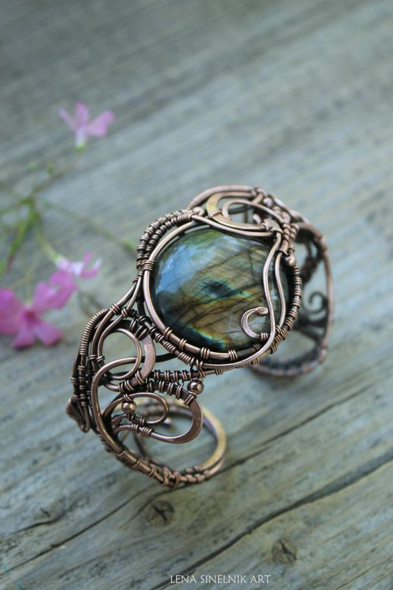 Labradorite bracelet Wirewrap bracelet Copper by LenaSinelnikArt
