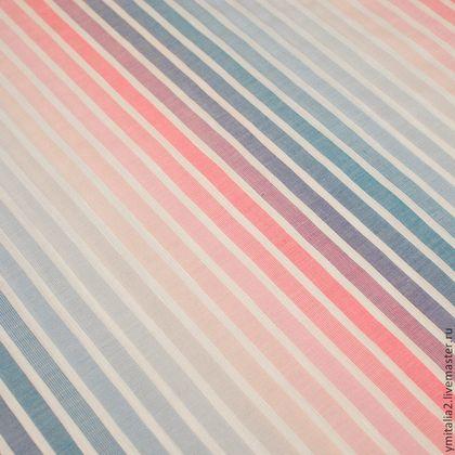 Итальянская плательно-блузочная ткань розово-голубые полоски - итальянский хлопок