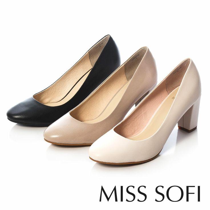 MISS SOFI-小羊皮素面復古高跟鞋-清雅粉白 - Yahoo!奇摩購物中心