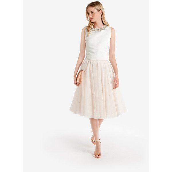 Ted Baker Embellished Tutu Skirt Ivory ($475) ❤ liked on Polyvore featuring skirts, ivory, knee length skirts, ted baker skirt, ivory tuxedo, white tutu and ted baker