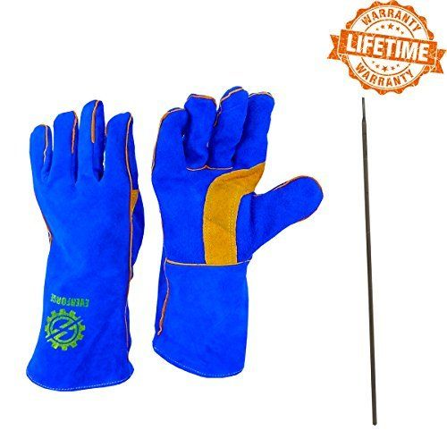 "$0.40 (97% Off) on LootHoot.com - Everforge 14"" MIG and TIG Welding Gloves For Welders - Free Steel Welding Rod - Heavy Duty Reinforced Kevlar Stitching - Extreme Heat Resistant Double Insulation - One Size Fits All - Blue and Yellow"