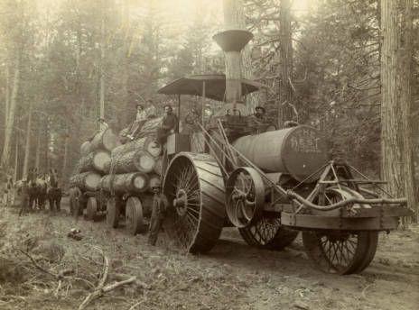 Tractor pulling logs - Shasta County, California - ca. 1905