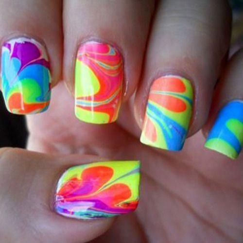rainbow neon water marblesPetroleum Jelly, Nails Art, Nail Polish, Nailsart, Colors, Nailpolish, Ties Dyes, Nails Polish, Marbles Nails