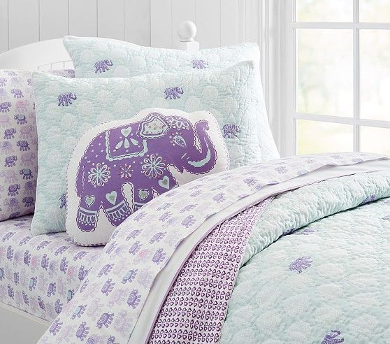 Stella Elephant Quilted Bedding | Pottery Barn Kids  **Sheet set for the girls...i think... Too many nice ones to choose!