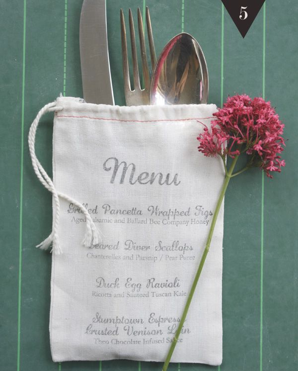 Okay, I don't usually post wedding stuff, because I think I'd be getting WAY too ahead of myself... However, I really like this idea :). Utensils in a bag, stamped with the menu.