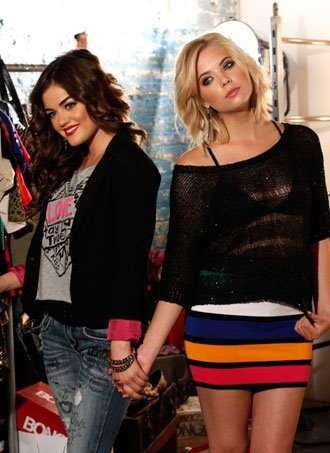 Lucy Hale and Ashley Benson on the set of their promotional Bongo photoshoot