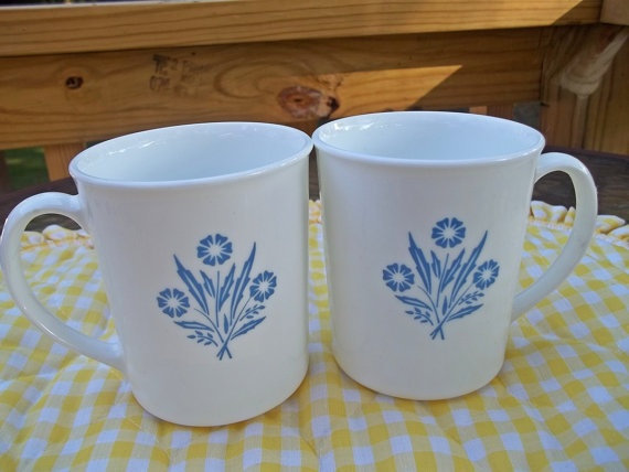Set of 2 Corning Ware Mugs in the Blue Cornflower by RedRoverRetro, $29.95