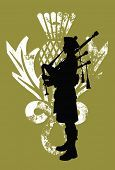 image of kilt  - Silhouette of a bagpiper wearing a scottish kilt - JPG