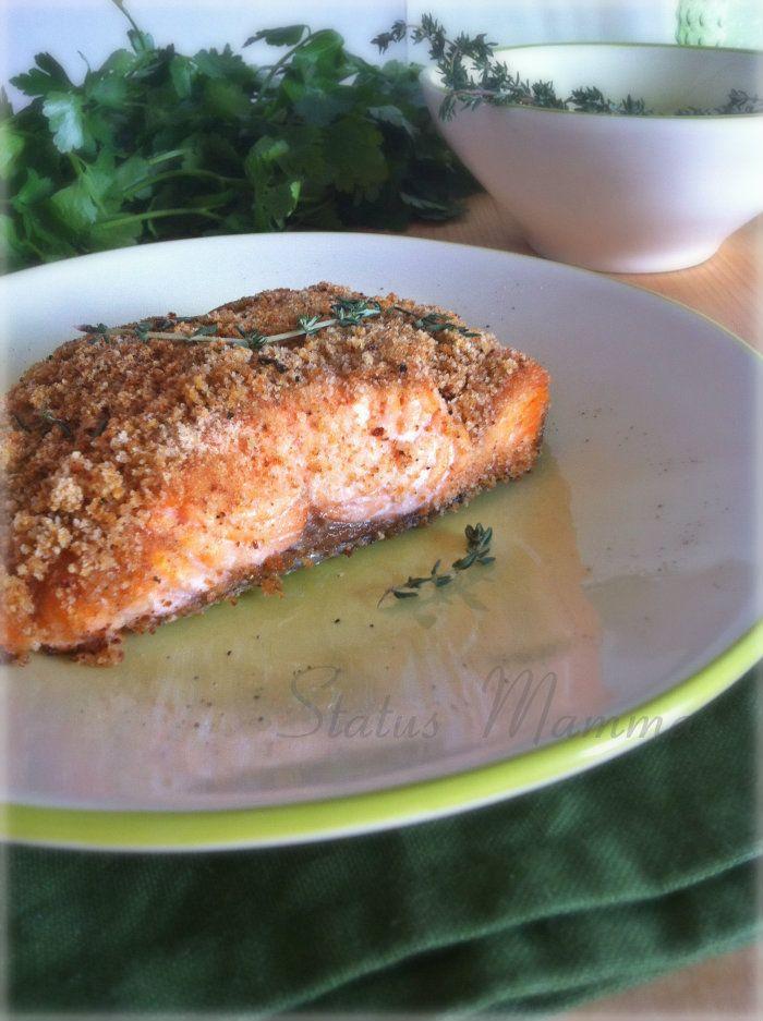 Filetto di salmone in crosta di pane al timo | Status mamma