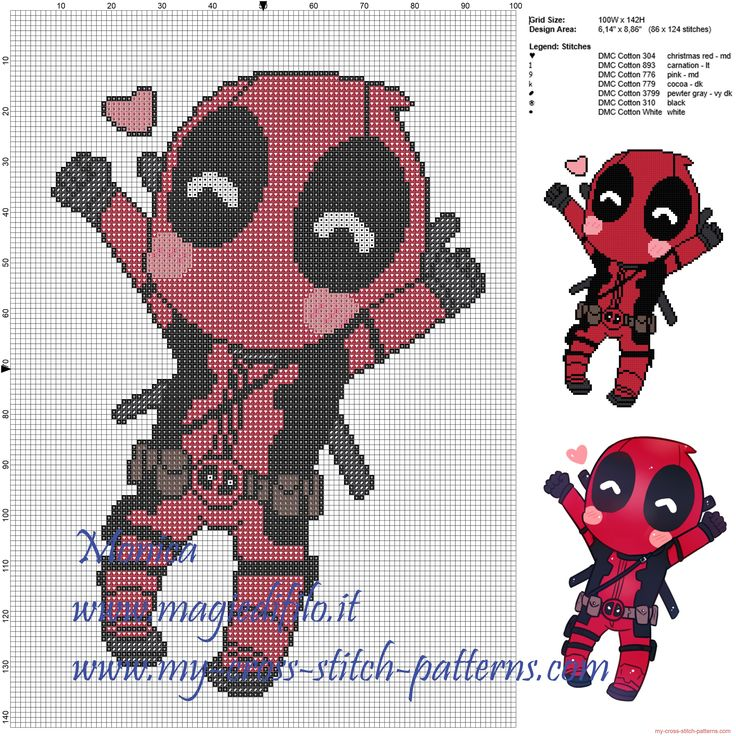 Deadpool cross stitch pattern punto de cruz friki